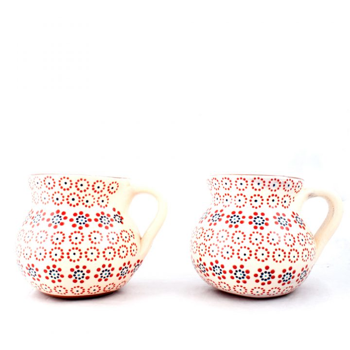 clear with dots cream mug