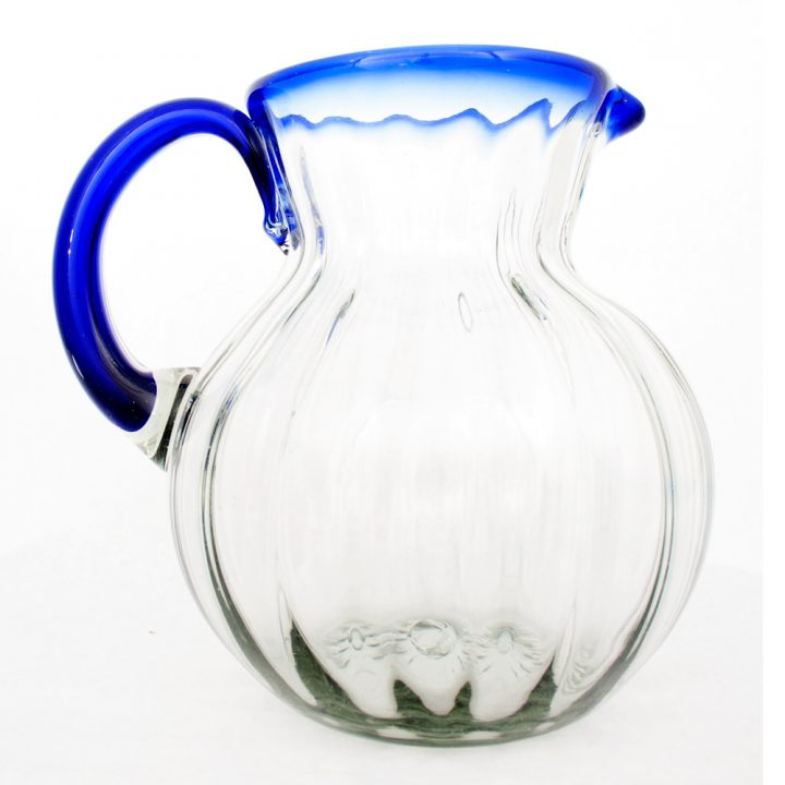 clear round ribbed jug with blue rim