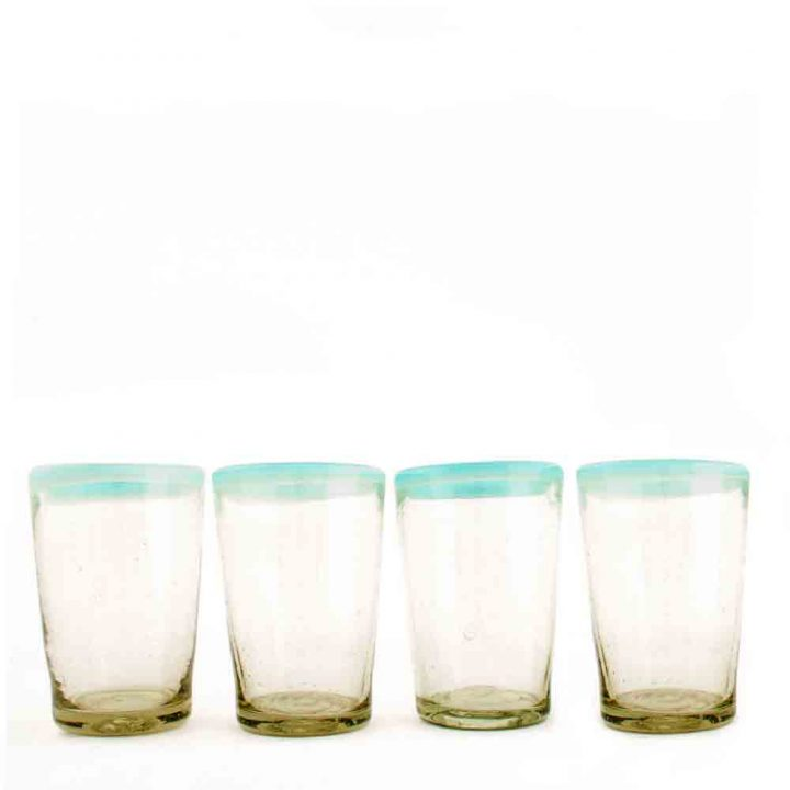 Clear tumblers with a turquoise rim