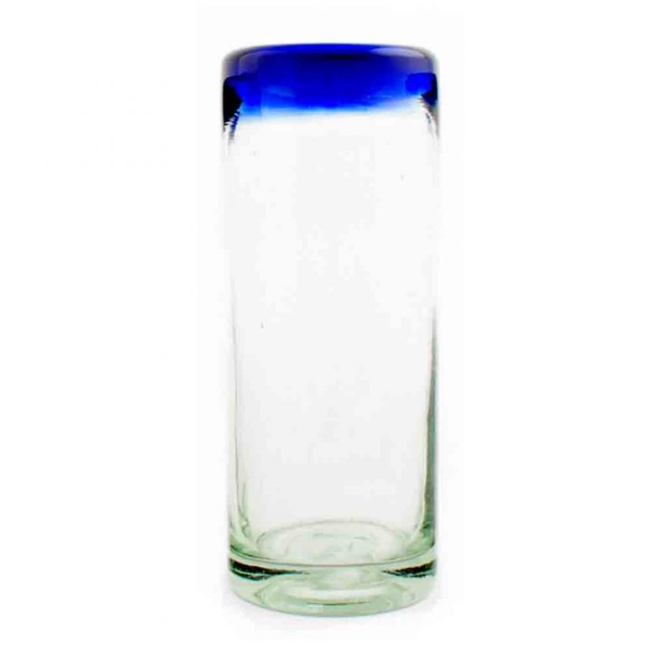Clear with a blue rim highball tumbler