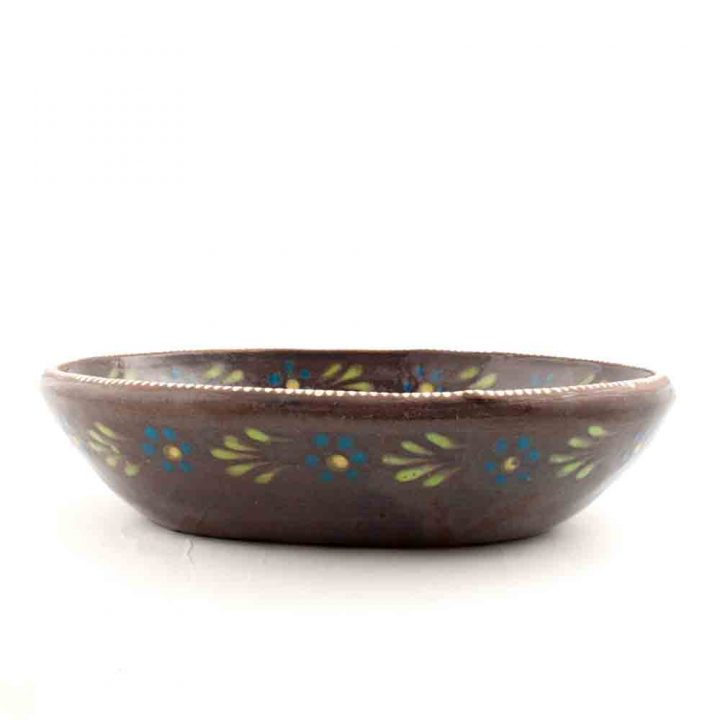 Brown pottery platter Mexican tableware