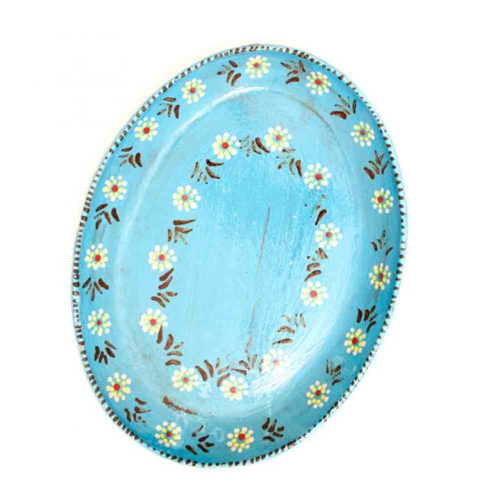 capula turquoise plate with blue flowers