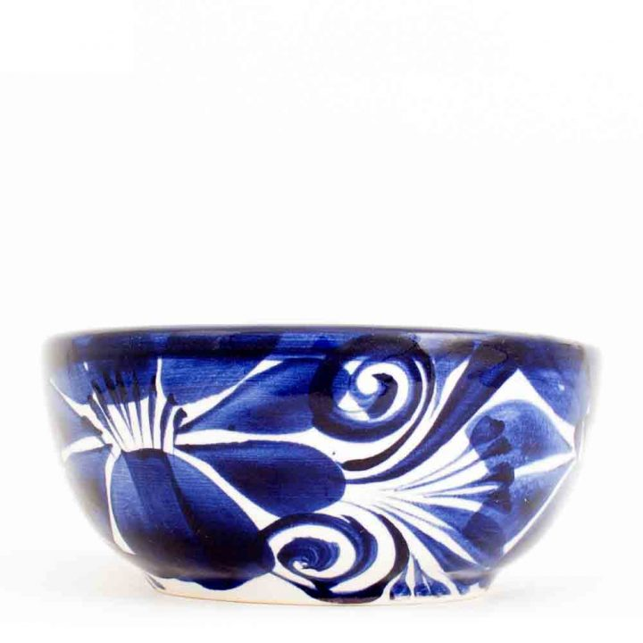 Dolores blue flower Mexican pottery bowl