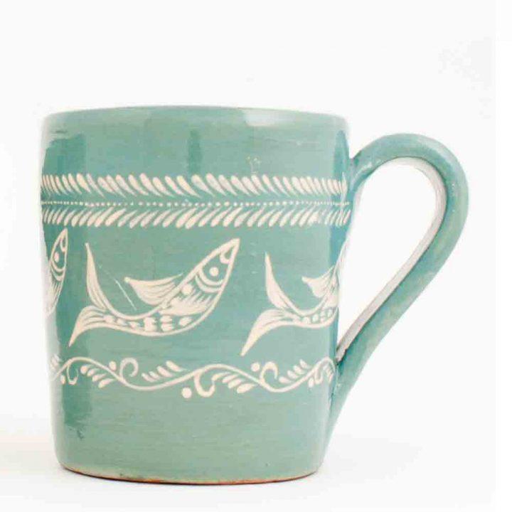 capula green pottery mug