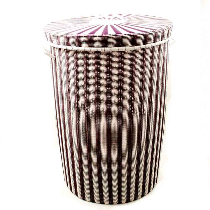 aubergine and white laundry baskets
