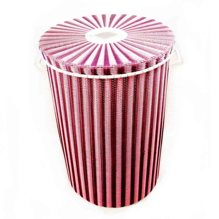 Aubergine and pink laundry basket