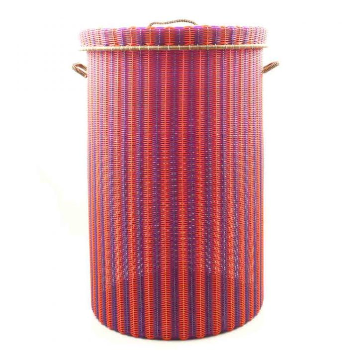 Orange and purple large laundry basket
