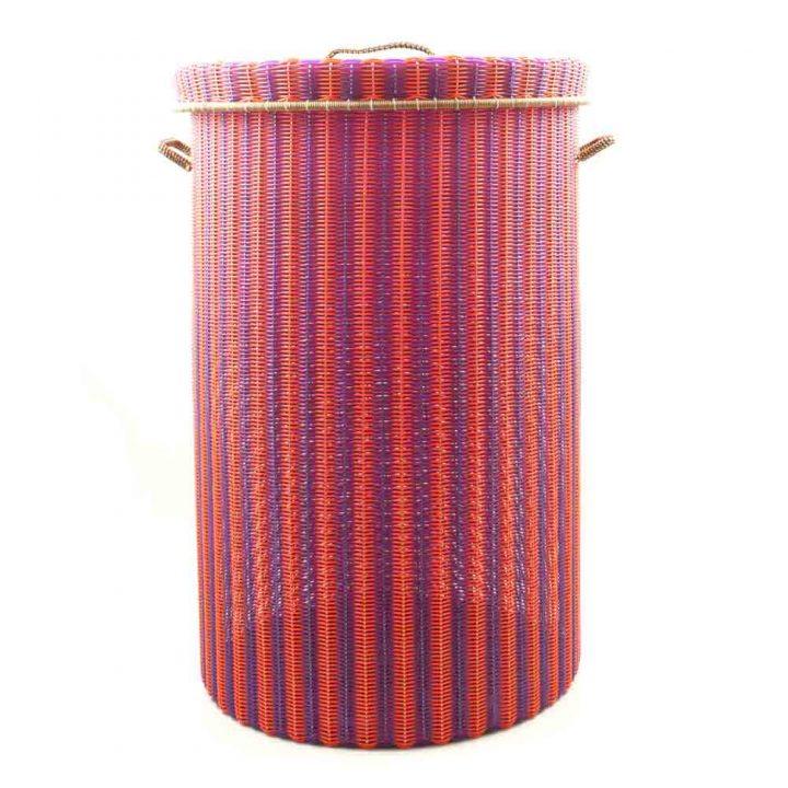 Orange and purple large laundry basket