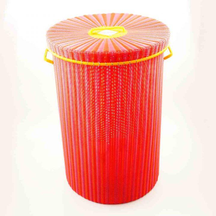 Pink and orange laundry basket