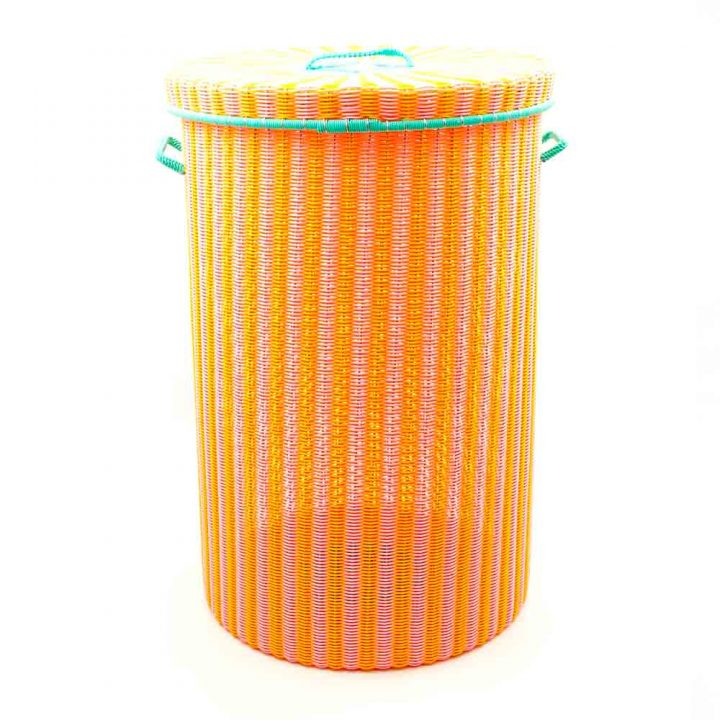 yellow and pink large laundry basket