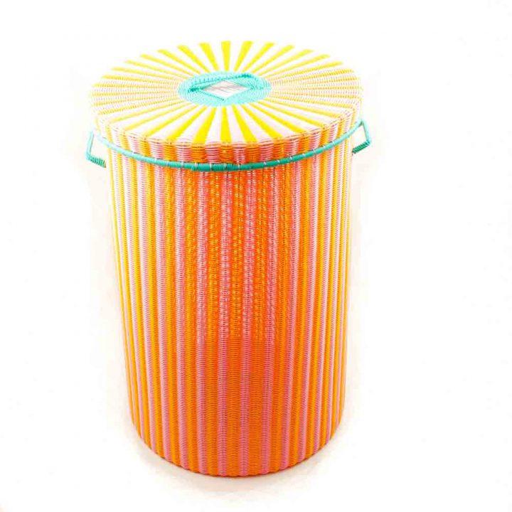 orange and yellow large laundry basket