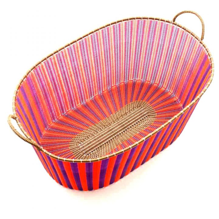 purple and orange ironing basket