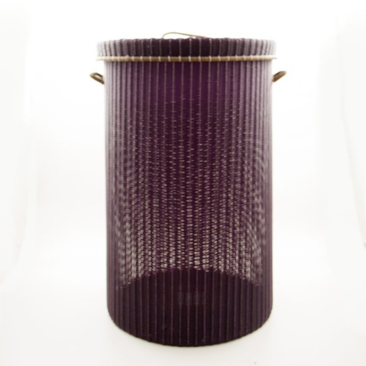 Aubergine with gold rim laundry basket