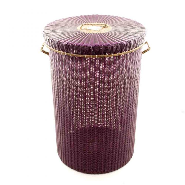 aubergine with-gold r-im large- laundry basket