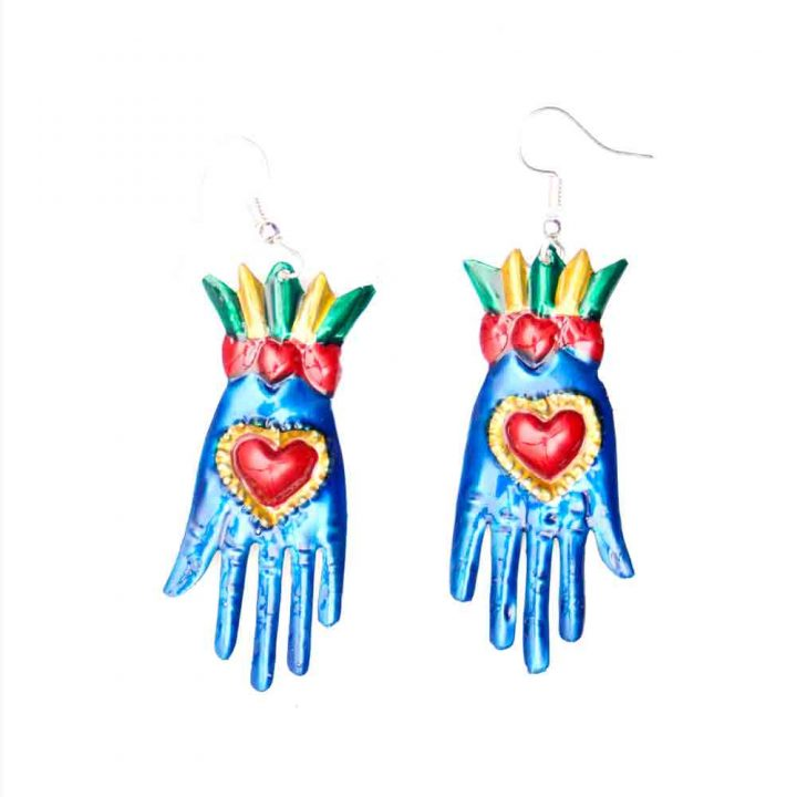 blue tin hand earring Mexican jewellery