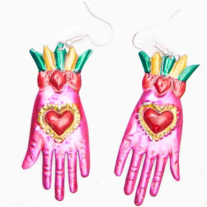 Mexican tin earrings -pink hands