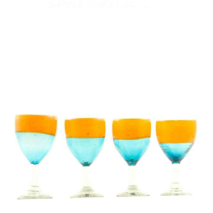 Aqua and orange wine glasses