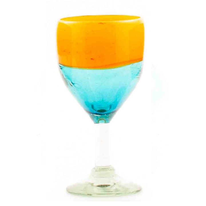 aqua and orange wine glass
