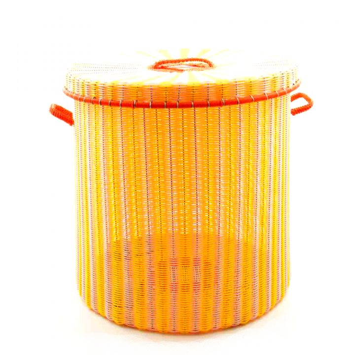 pink and yellow storage basket