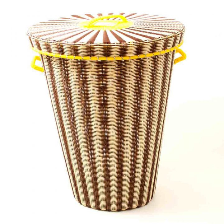 Chocolate and cream laundry basket