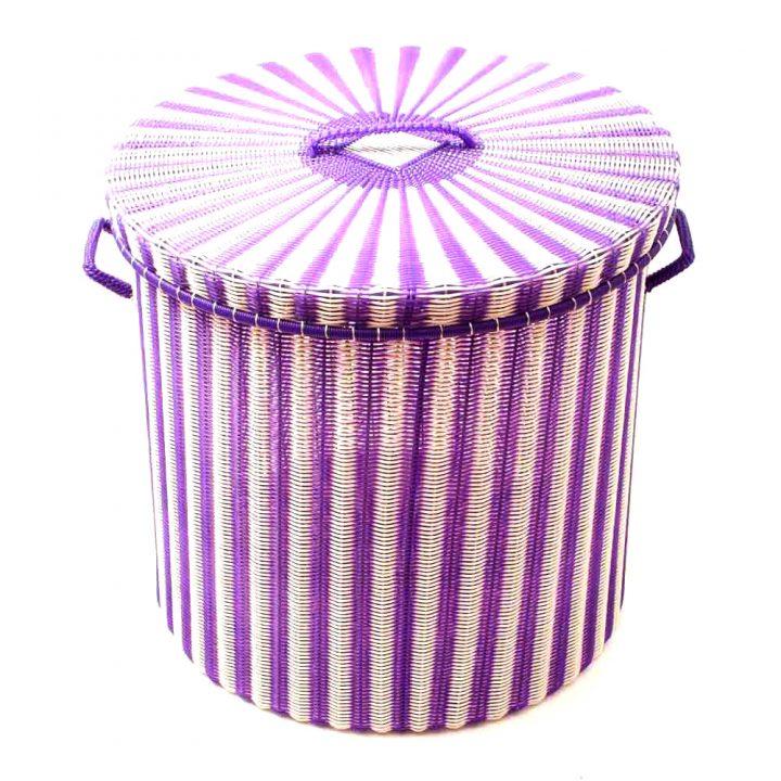 cream and purple storage basket