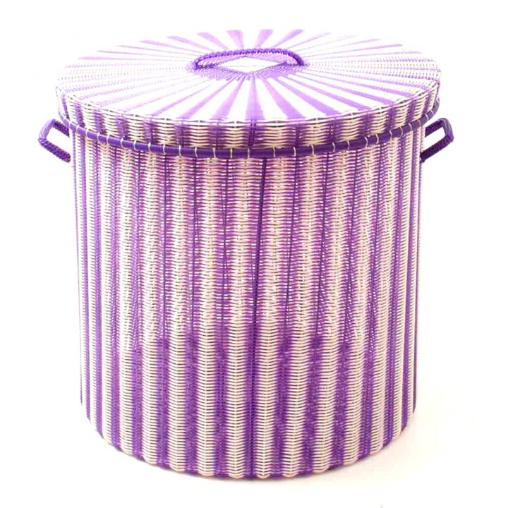 cream and purple storage basket