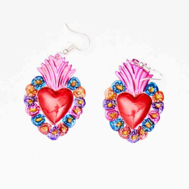 flaming hearts Mexican jewellery