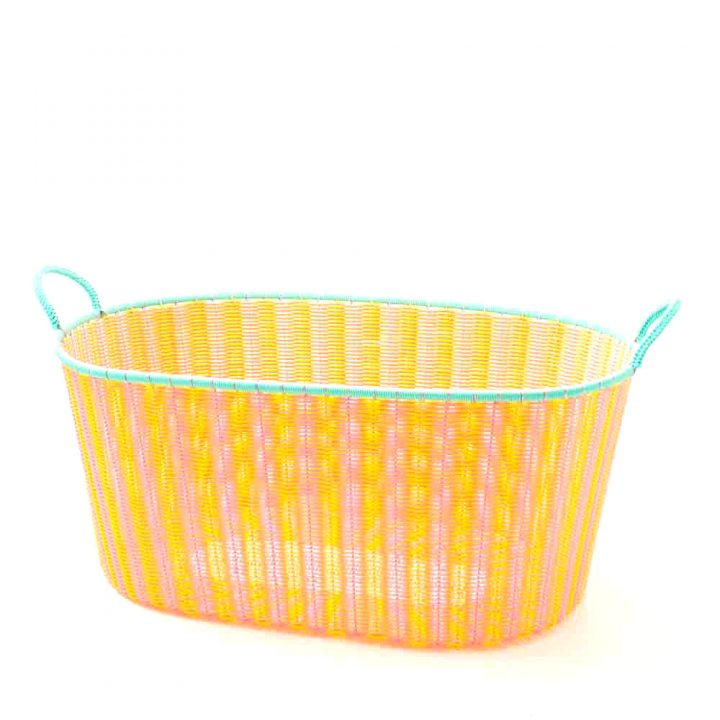 pale yellow and pink ironing basket