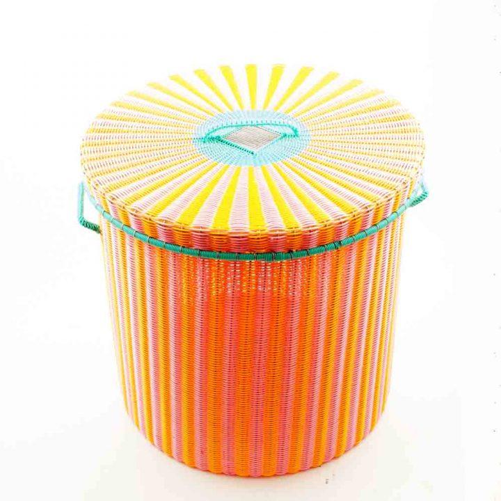 Pink and orange storage basket