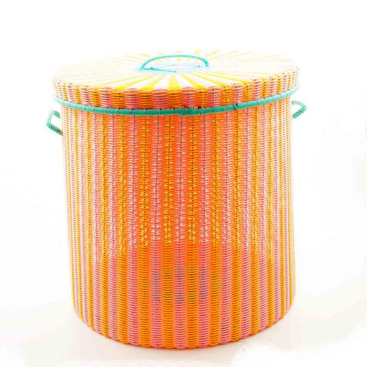orange and pale pink storage basket