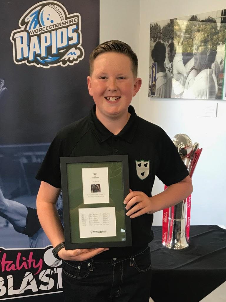 Harry at Worcestershire County Cricket Club with his award