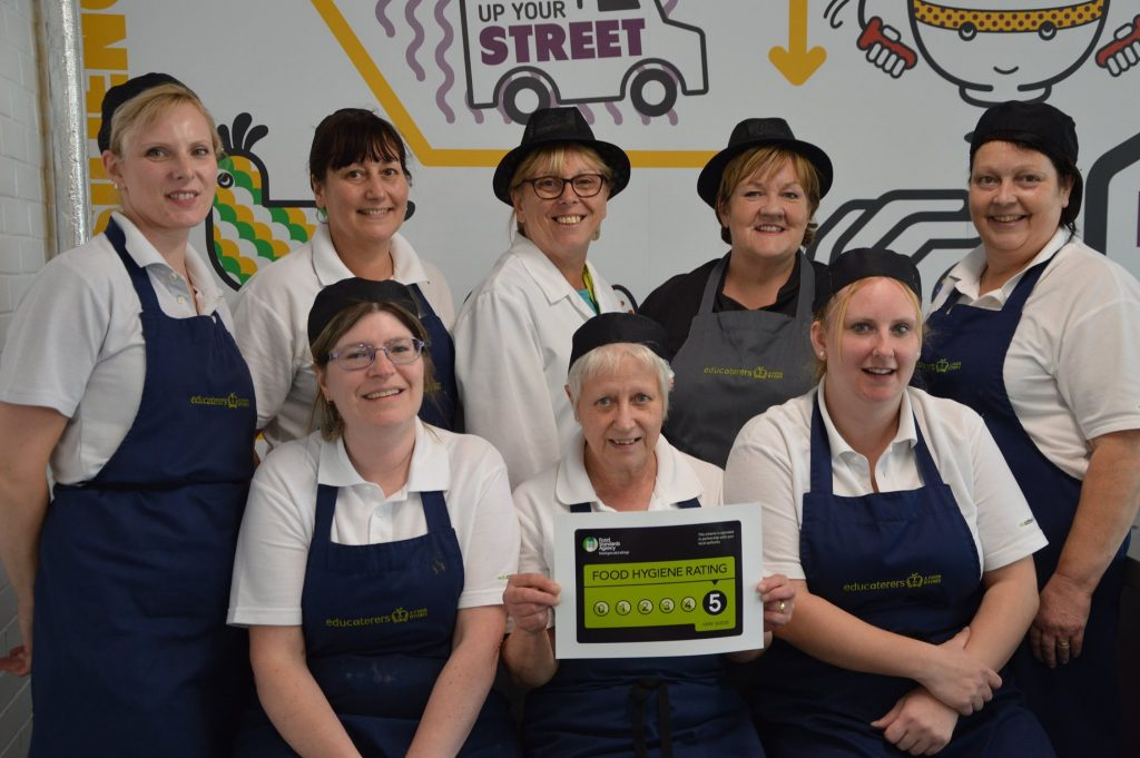 Catering staff with their top food hygiene award.