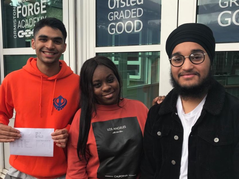 Left to right: Gagandeep - University of Birmingham to read physics and astrophysics (3As 2Bs), Princess - University of Wolverhampton to read law, Vikramjeet - University of Nottingham to read physics.