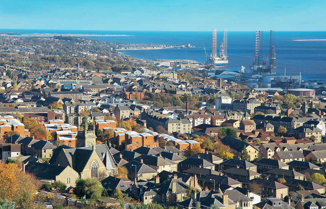 A long shot of Dundee with a view out to the sea