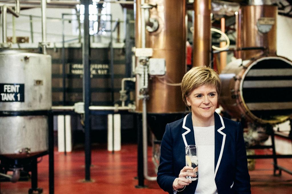Nicola Sturgeon at a distillery