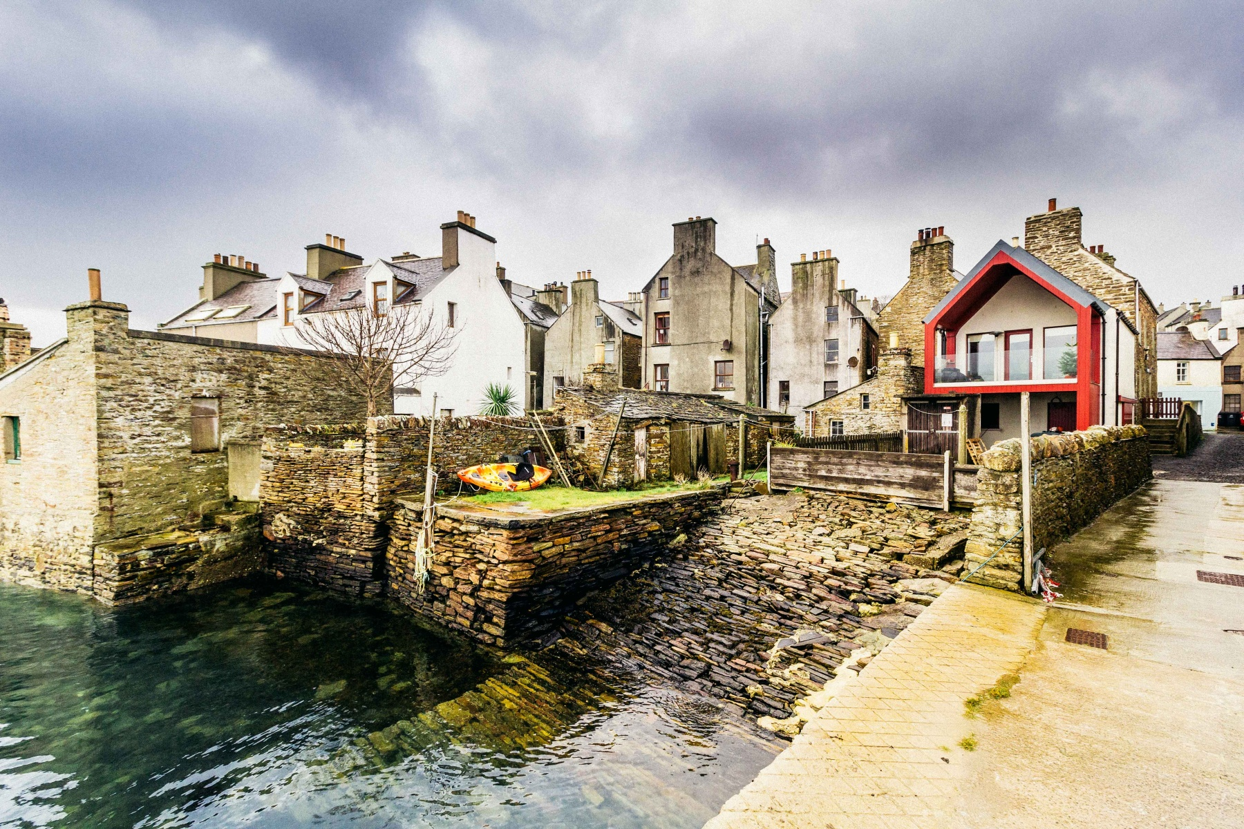 Houses facing on to the Harbour in the town of Stromness, Orkney