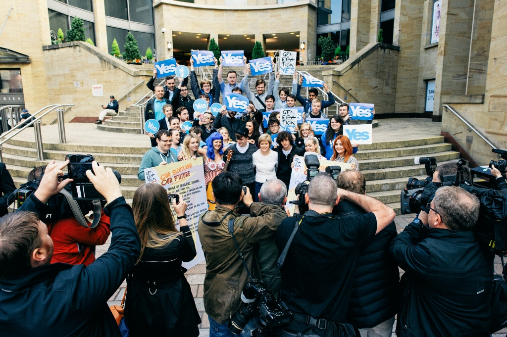 Nicola Sturgeon with young Yes activists on Buchanan Street Steps.