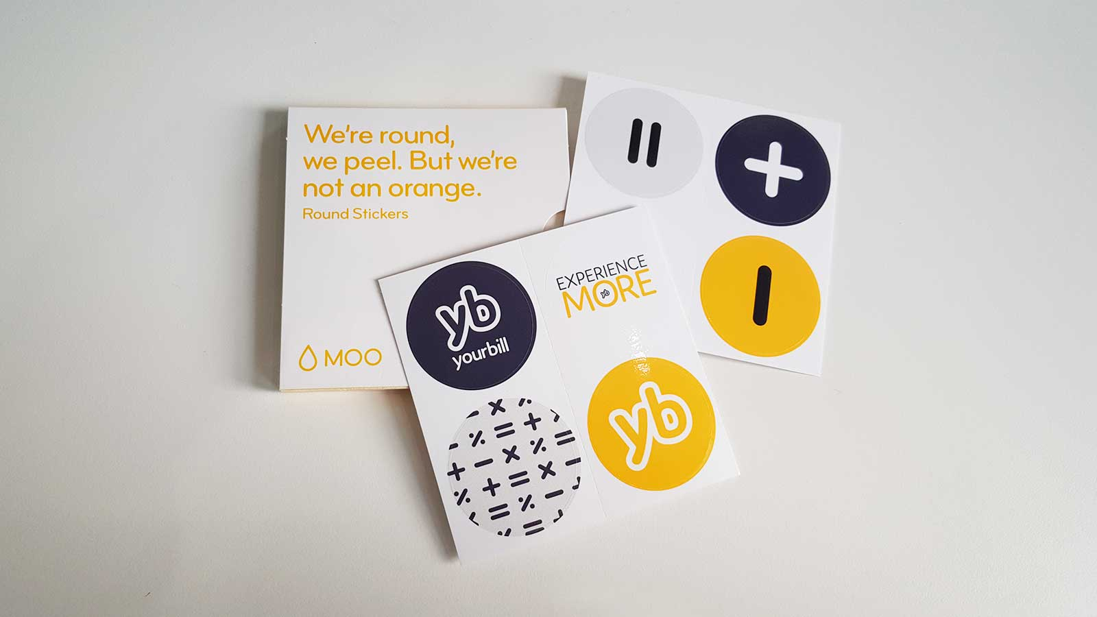 Yourbill branded postcards and stickers