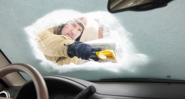 clean car winter snow